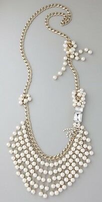 Lee Angel Neiman Marcus Women Desiree Crystal Pearl Statement Necklace NWT 595