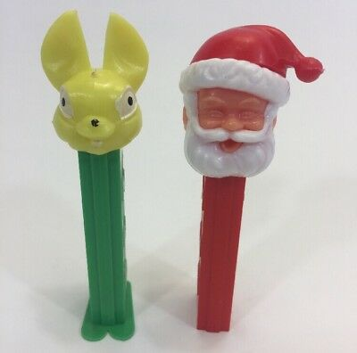 Vintage Pez Yellow Bunny Rabbit W/ Feet & Santa W/ No Feet Yugoslavia Lot Bundle