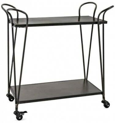 31' Black And Bronze Rubbed Finish Industrial Inspired Bar Cart With Locking