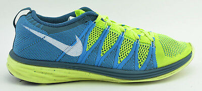 sale retailer 1b646 efcba Mens Nike Flyknit Lunar 2 Running Shoes Size 9.5 Neon Yellow Blue 620465 714