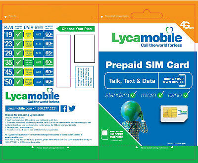 2 X Lycamobile Lyca Mobile Plus Prepaid Sim Card Activation Kit Lycasim Lyca Sim