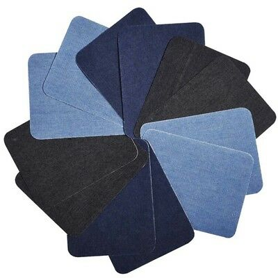 4/12Pcs Elbow Fabric Jeans Iron-on Patches Clothes DIY Repair Pants Knee Apparel