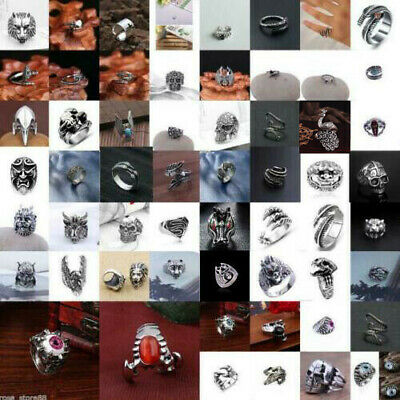 Men's Fashion Stainless Steel Silver Cool Gothic Punk Biker Finger Rings Jewelry