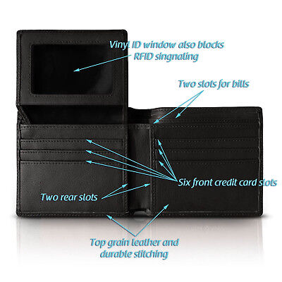 RFID Blocking Top Grain Leather Wallet for Men with ID Window Black 10 Slots