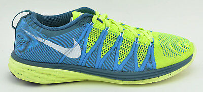 separation shoes adbb0 7d4cc Mens Nike Flyknit Lunar 2 Running Shoes Size 9 Us Neon Yellow Blue 620465  714
