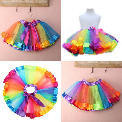 US STOCK Kids Girls New Lovely Colorful Tutu Skirt Rainbow Tulle Tutu Mini Dress