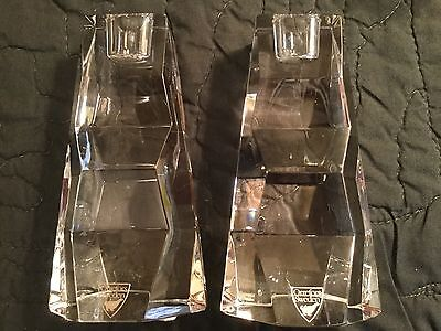 Vintage Pair Signed Orrefors Sweden  Crystal Candle Holders Mid Century Modern