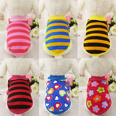 Striped Heart Small Dog Clothes Winter Warm Puppy Coat Soft Fleece Dog Sweater