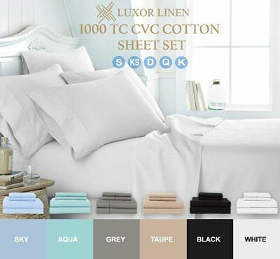4PCS 1000TC Ultra SOFT Flat Fitted Sheets Set Single/Double/Queen/King Size Bed~