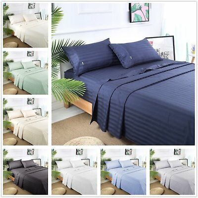 1800TC Egyptian Cotton Queen or King Size Bed Sheet Set (Stripe). 4 Pieces - AUS