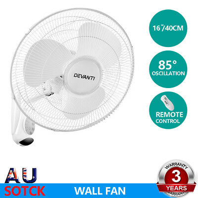 Devanti 40cm 16'' Oscillating Wall Mounted Fan Remote Control Timer Cooler White