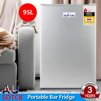 Glacio  Portable Bar Fridge Refrigerator Cooler Freezer Office Home Silver 95L