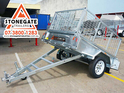 BEST SELLING 6x4 Tilting Cage Box Trailer For Sale Hot Dip Galvanized Brisbane