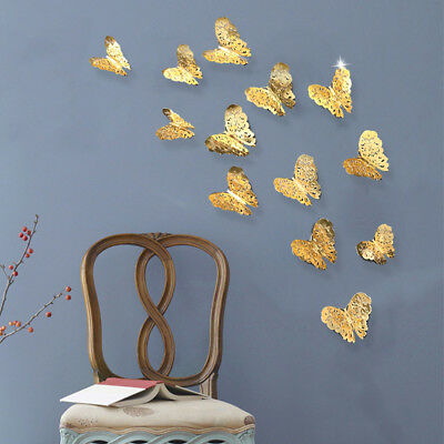12 Pcs 3D Hollow Thick Paper Wall Stickers Butterfly Fridge for Home Decoration
