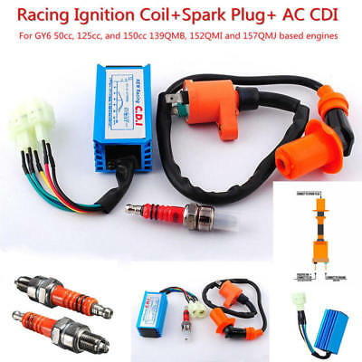 Racing Performance CDI+ Ignition Coil + Spark Plug Fit Gy6 150cc 125cc 50cc IOU