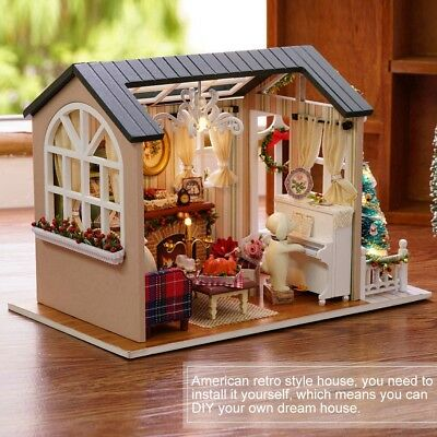 Dollhouse Miniature DIY Kit with Cover Wood Toy Doll House Cottage W/ LED Light