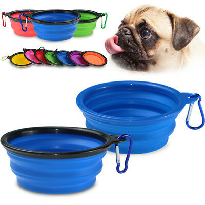 Portable Silicone Dog Food Water Bowl Feeder Utensils Pet Outfit Travel Foldable