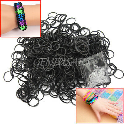 600 Pcs Black Rubber Bands 24 Clips For DIY Loom Charming Bracelet Anklet New