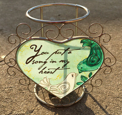"SONG IN MY HEART ""Green"" Sweet Birds Decorative Tea Light Candle Holder Ornament"
