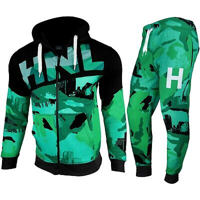 Kids Boys Tracksuit Green HNL Camouflage Hoodie Bottom Jog Suit New Age 7-13 Yrs