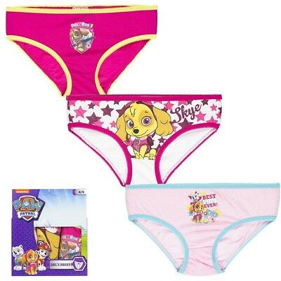 Girls Nickelodeon Paw Patrol 3 Pack Briefs / Knickers 6-8 Yrs BNIP