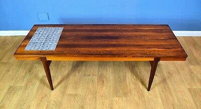 Mid Century Retro Danish Rosewood & Tile Top Coffee Table by K.T. Møbler 60s 70s