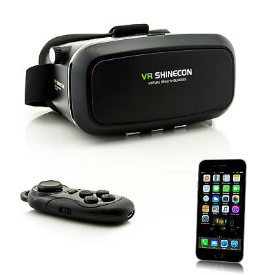 Controller + 3D VR Brille Virtual Reality Glasses für Apple iPhone X 8 7 Plus 6S