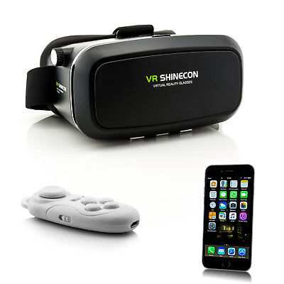 3D VR Brille Virtual Reality Glasses für Apple iPhone X 8 7 Plus 6S + Controller