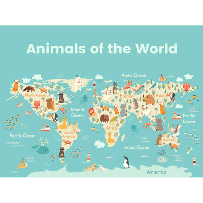 Animals Of The World Map Unframed Wall Art Print Poster Home Decor