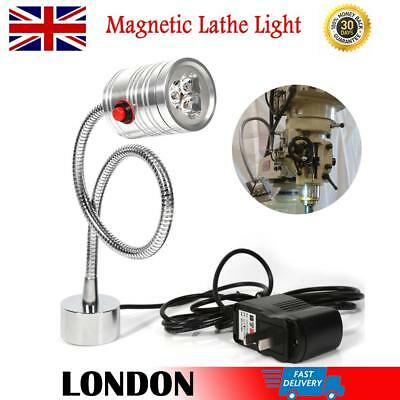 220V 3W LED Lamp Lathe Work Light Magnetic Base Milling Machine Tools UK