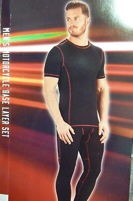 BNWT Men's Motorcycle Base Layer Set Black Tee & Bottoms Med or Large