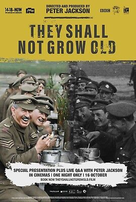"They Shall Not Grow Old Movie Poster Peter Jackson Art Print 13x20"" 24x36"" 27x40"