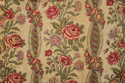Curtain Antique French Floral & Stripe design roses, faded printed linen drape