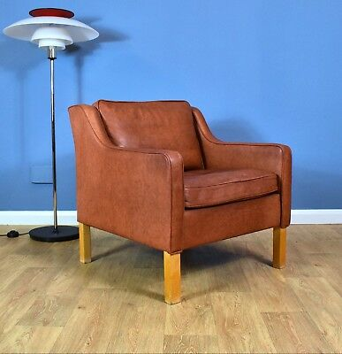 Mid Century Retro Danish Patinated Brown Leather Mogens Hansen Lounge Arm Chair