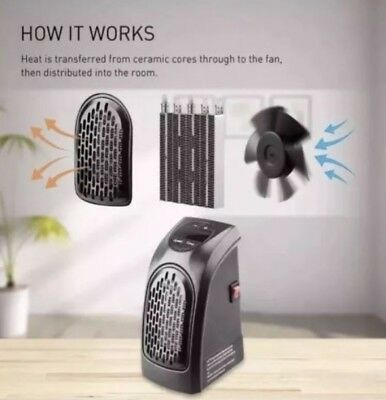 NEW 400W 220 - 240V Mini Portable Plug-in Heater Wall-outlet Space Electric Home
