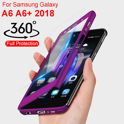 For Samsung Galaxy A6 Plus 2018 full 360° Cover Shockproof Case + Tempered Glass