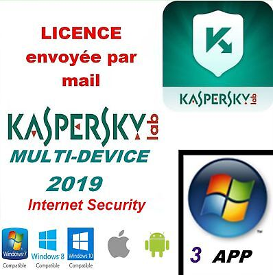 Kaspersky Internet Security Multidevice 2019- 3App 1an Licence envoyée par mail