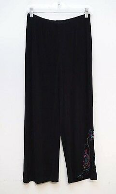 Chico's Travelers Womens Size 0 Crop Pants Slinky Embroidered Black