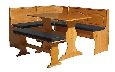 NEW Linon SOLID WOOD Kitchen Nook Corner Dining Breakfast Table & CUSHION SET