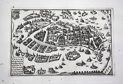 1735 - Venezia Venice view veduta acquaforte engraving Ratelband map carta