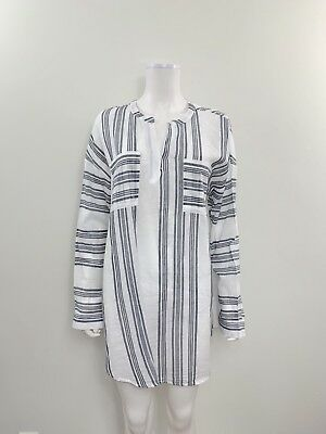 Old Navy Maternity Women's Size Large Long Sleeve White Blue Striped Tunic