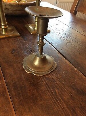 Very Early Bronze Candlestick 17th Century 1600s Candlestick Bell Metal Rare