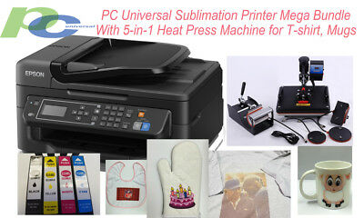 PC UNIVERSAL SUBLIMATION BUNDLE WITH PRINTER, 5-IN-1 HEAT PRESS & T-SHIRT,Mugs
