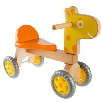 Balance Toys For Kids Toddler Wooden Ride-On Giraffe Indoor Outdoor Play 4 Wheel