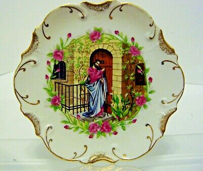 """""""Jesus Knocking At The Door"""" Collector Wall Plate 18K Gold Trim"""