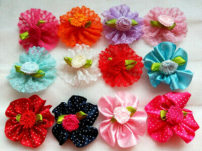 40Pcs Mixed Handmade Dog Hair Bows  Rubber Band /Clip Puppy Accessories Grooming