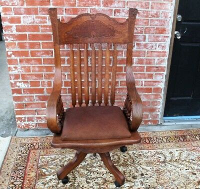 Antique American Oak Office Swivel Padded Desk Chair With Cushion and Wheels