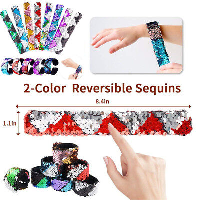Fashion Unisex Children Adult Two-color Reversible Sequin Snapping Ring Bracelet