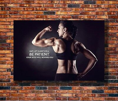 Art Bodybuilding Woman Fitness Motivational -20x30 24x36in Poster  Hot Gift C427