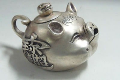Old Decorated Handwork tibet silver collectable old style lifelike pig teapot